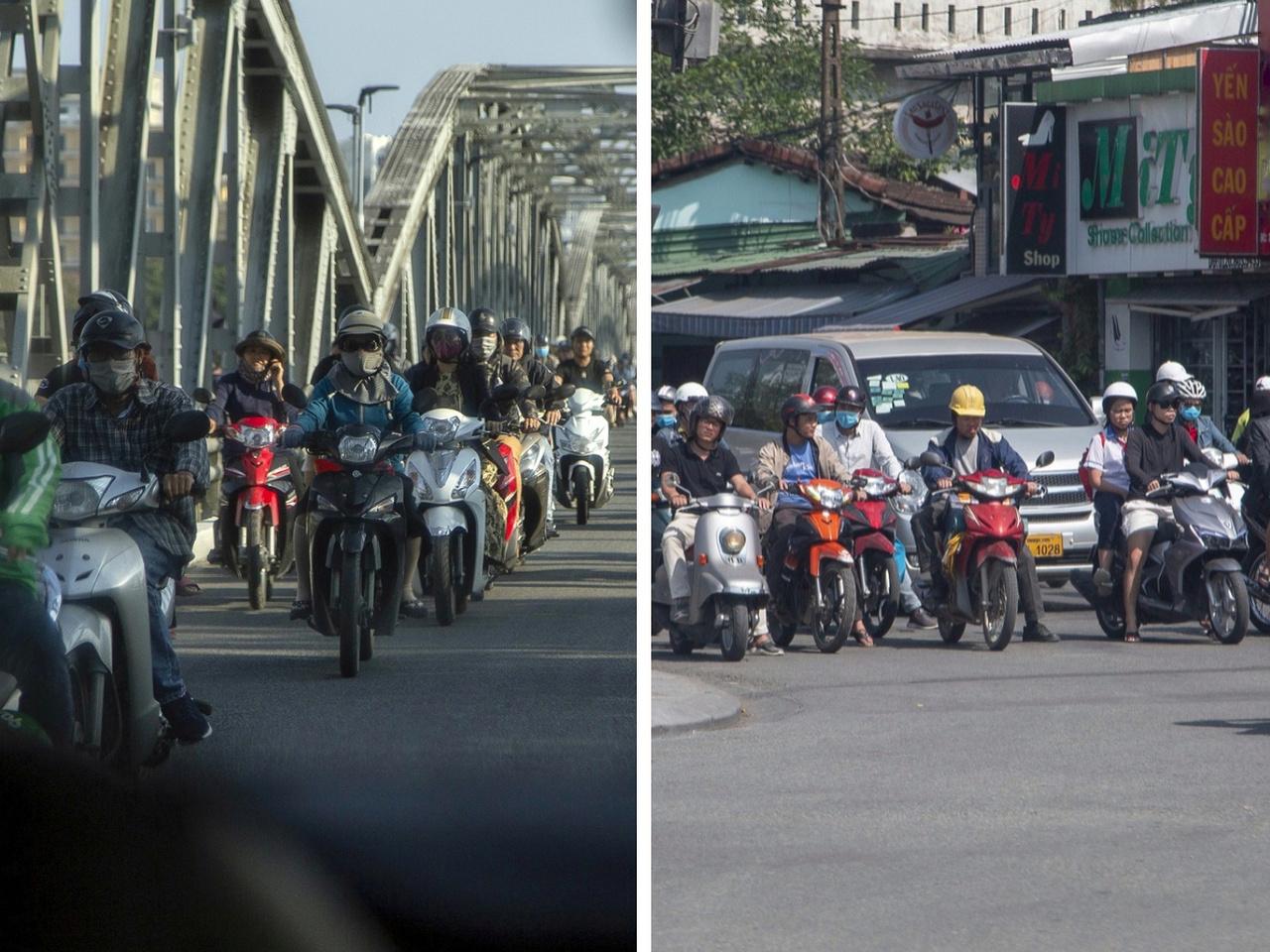 Ezúton is elnézést kérek egy tavalyi bakimért, amikor a Thaiföldről szóló beszámolóban említést tettem az itteni motoros helyzetről. Nos, nem negyven, hanem nyolcvanmillió! motor, jobbára robogó jut az ország százmilliós lakosságára, ezzel világelső. Az ország középső részét és egy trópusi szigetet jártunk be, több száz kilométert megtéve. Ezek a fotók Hueban, ahol a Nguyen dinasztia székhelye és lenyűgöző palotakomplexuma található és Da Nangban, az ország harmadik legnagyobb városában készültek. Ezeken a helyeken csak óriási rutinnal és stressztűrő képességgel érdemes robogót bérelni, mert tíz másodperc alatt bedarálják a nem elég határozott motorost, amire sajnos több példát is láttunk utunk során