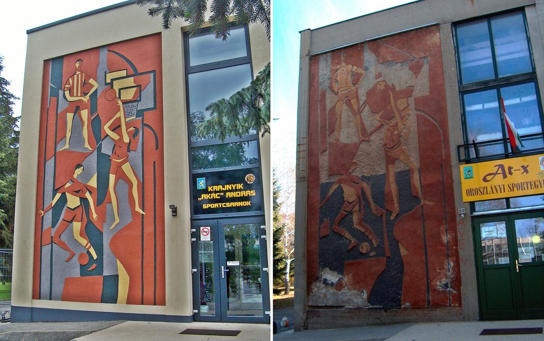 Zámbó Kornél sgraffitója az oroszlányi sportcsarnok falán, a 2015-ös felújítás után és előtte