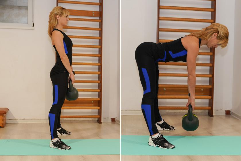 Állj enyhe terpeszben úgy, hogy a lábfejek és a térded 45 fokos szögben kifelé nézzenek. Fogj a kezedbe egy három- vagy hatkilós kettlebellt, és végezz törzsdöntéseket előre a csípőd vonaláig, majd egyenesedj vissza terpeszállásba. Figyelj arra, hogy a hátad végig feszítsd, tartsd meg egyenesen, és ne hajlítsd be közben a térdeidet.Ez a gyakorlat a hátsó combokat erősíti. Kezdőként 4 x 8-as szériát végezz belőle.
