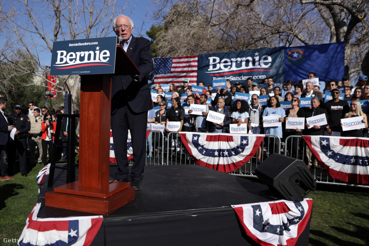 A Demokrata Párt elnökjelöltségére pályázó Bernie Sanders vermonti szenátor egy nevadai kampányrendezvényen 2020. február 18-án