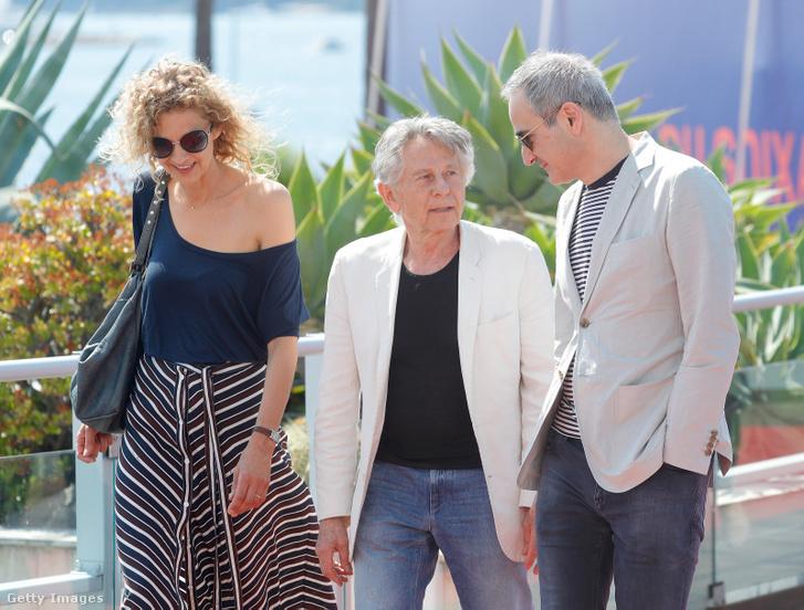 Delphine de Vigan regényíró (b), Roman Polanski rendező (k) és Olivier Assayas forgatókönyvíró (j) 2017-ben