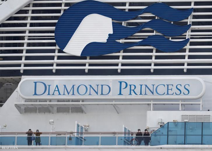 Diamond Princess a Jokohamai kikötőben a mai napon