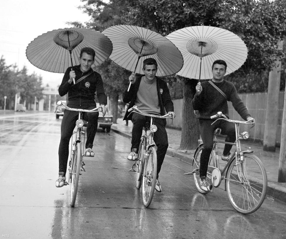 1964. Tokió.Mahó László, Mészáros András és Stámusz Ferenc (j) kerékpárosok japán esernyőt a fejük fölé tartva kerékpároznak az olimpiai faluban a XVIII. nyári olimpián.