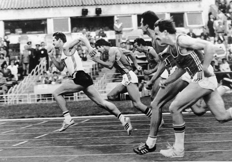 1984. Los Angeles... helyett Moszkva. Bakos György elsőként ér célba a 110 méteres gátfutás versenyében az olimpiát bojkottáló nemzeteknek szervezett  Barátság Játékokon.