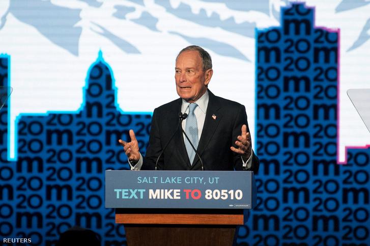 Mike Bloomberg a demokraták tegnapi elnökjelölti vitáján Salt Lake Cityben