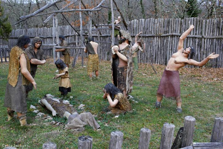 Őskori temetkezési jelenet reprodukciója