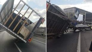 Felborított a szélvihar egy kamiont az M7-esen