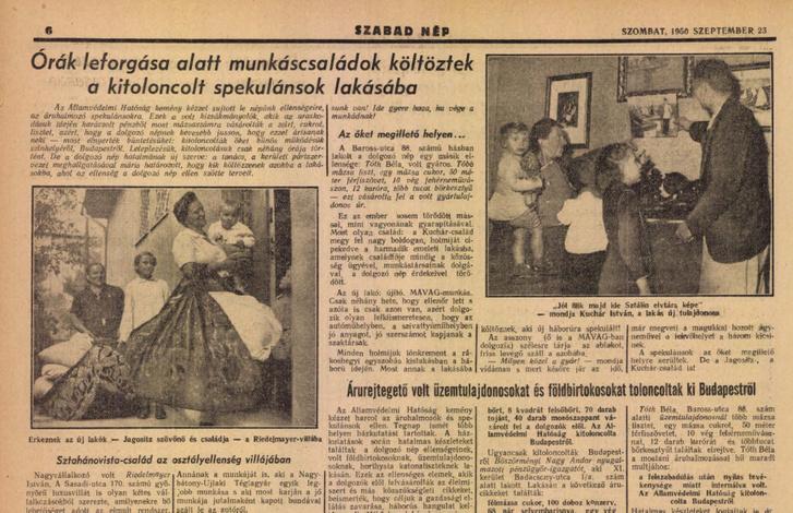 Szabad Nép 1950. augusztus 23-i számából: Órák leforgása alatt munkáscsaládok települtek a kitoloncolt spekulánsok lakásaiba
