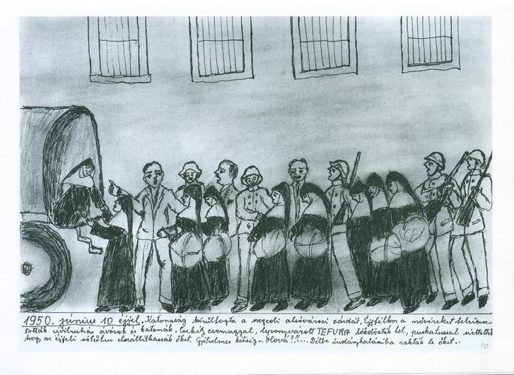 Apácák kényszerlakhelyre hurcolása a szegedalsóvárosi zárdából, 1950. június 10. Ceruzarajz