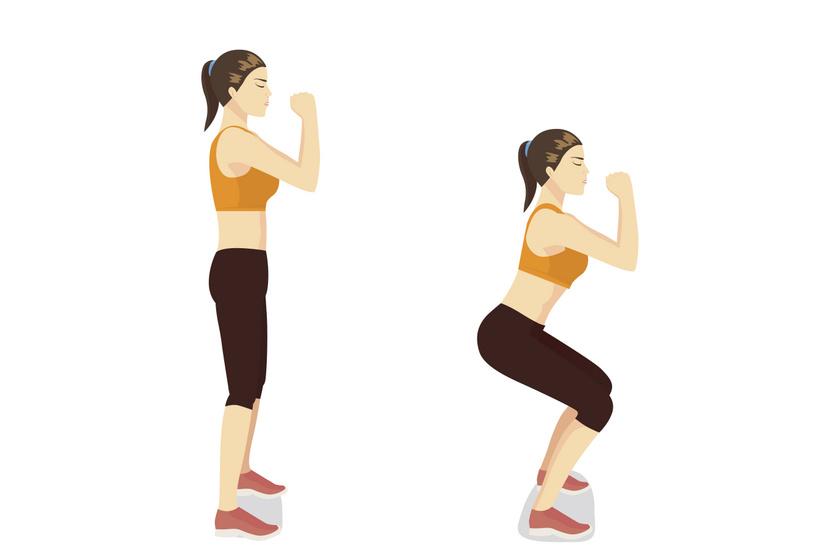 Állj egyenesen, majd a kezeidet összekulcsolva ereszkedj guggolásba úgy, hogy a lábszárad és a combod derékszöget zárjon be, a hátad pedig maradjon egyenes. Tartsd meg a pózt 10 másodpercig, majd állj fel. Egy sorozatban végezz 15 guggolást.