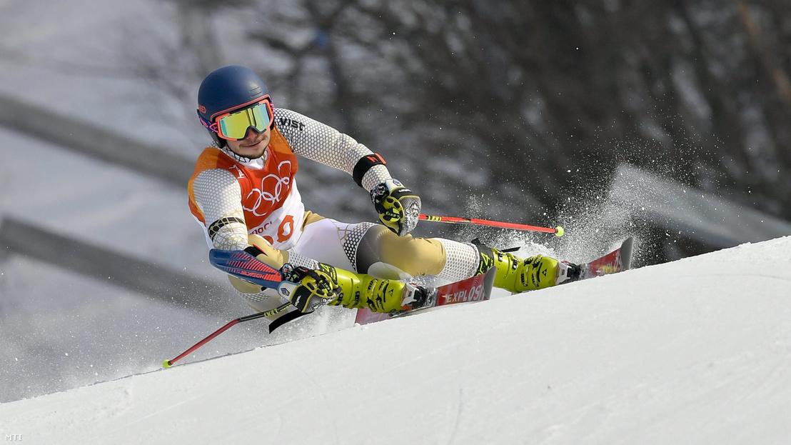 Kékesi Márton alpesi síző a phjongcshangi téli olimpia férfi óriás-műlesiklás versenyszámában az Alpensia Sport Parkban 2018. február 18-án.