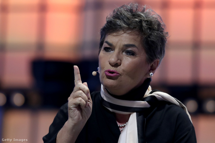 Christiana Figueres a lisszaboni Web Summit technológiai konferencián szólal fel 2019. november 6-án.