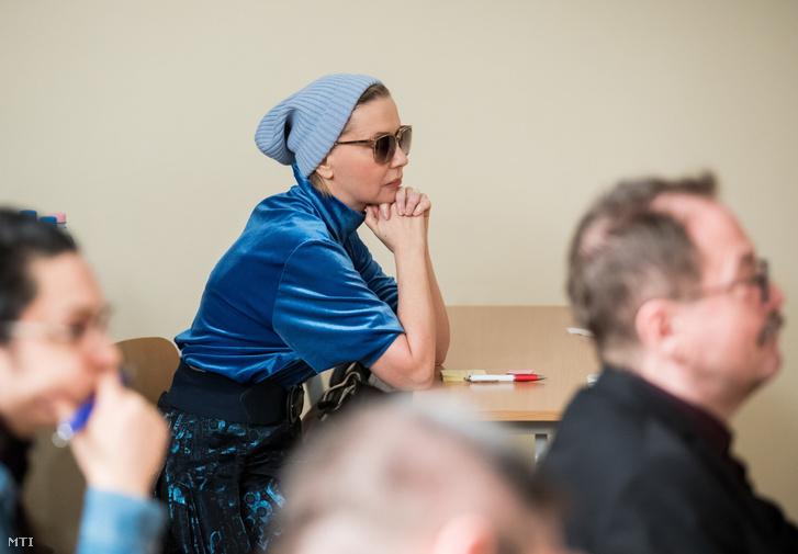 Eszenyi Enikő Kossuth- és Jászai Mari-díjas színésznő rendező érdemes művész a Vígszínház igazgatója a kulturális tao ügyében tartott sajtótájékoztatón a budapesti Városházán 2019. január 28-án.