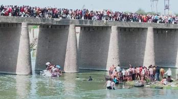 Esküvői vendégekkel teli busz zuhant folyóba Indiában, 25 halott