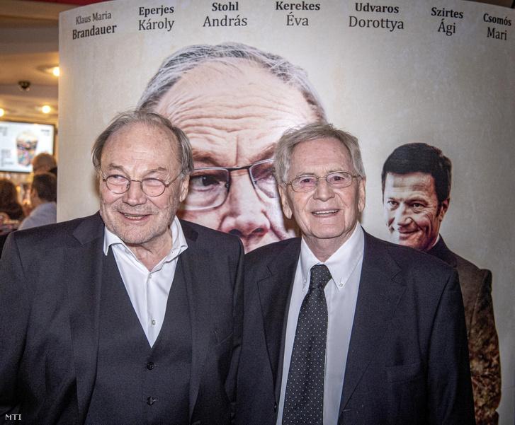 Klaus Maria Brandauer és Szabó István a Zárójelentés díszbemutatóján