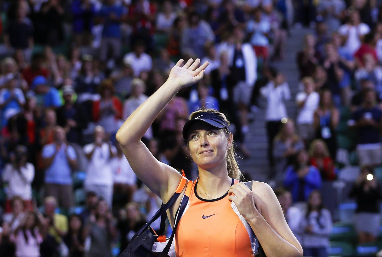 2016. január 24-én az ausztrál nyílt teniszbajnokság női egyesének negyedik fordulójában készített kép az orosz Marija Sarapováról, miután legyőzte a svájci Belinda Bencicet.