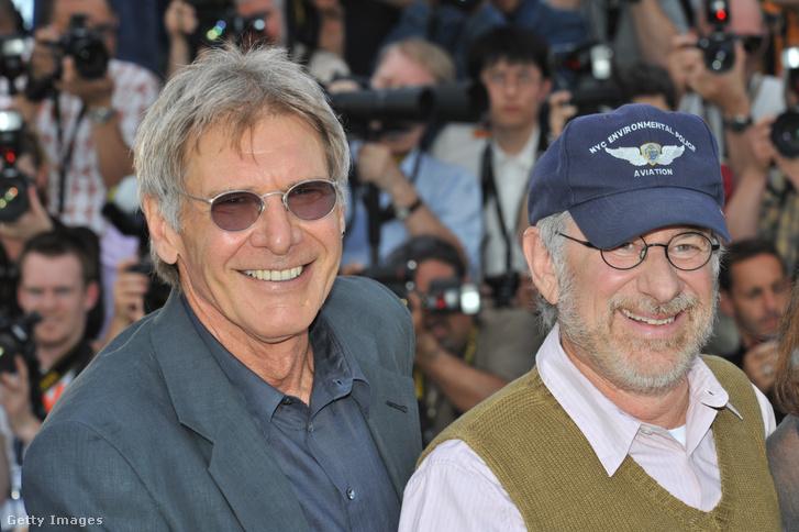 Harrison Ford és Steven Spielberg az Indiana Jones 4. bemutatóján, Cannes-ban