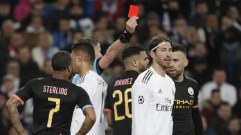 Rekordot ért Sergio Ramos 26. piros lapja