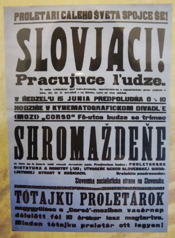 Kelet-Szlovák Népköztársaság korabeli felhívása
