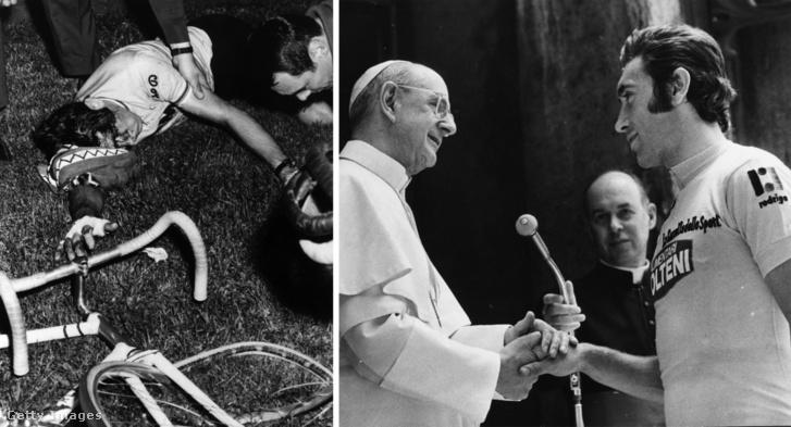 Balra: Eddy Merckx véres fejjel egy edzés közbeni esés után, 1969-ben. Jobbra: VI. Pál pápa és a bajnok Eddy Merckx a Vatikánban, 1974-ben.