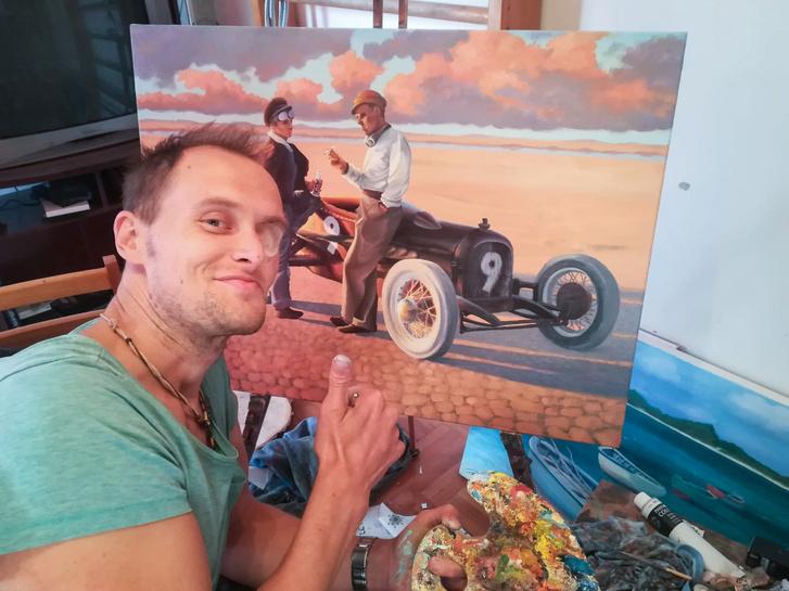 A művész épp kijön a képből, s visszatér az emberek közé - ez a pillanat az