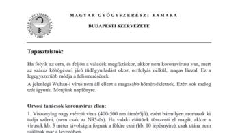 A gyógyszerész kamara budapesti elnöke: Én írtam koronavírus-tájékoztatót (ami megegyezik egy kamu lánclevéllel)