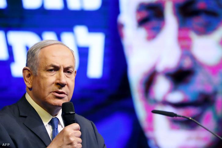 Benjamin Netanjahu egy szombati kampányrendezvényen Ramat Ganban