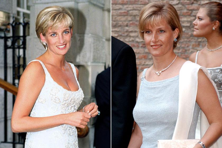 Diana hercegnő 1997-ben egy gálán, Zsófia grófné 2001-ben egy norvég esküvőn. Hihetetlen, Zsófia mennyire emlékeztetett itt az elhunyt hercegnőre.