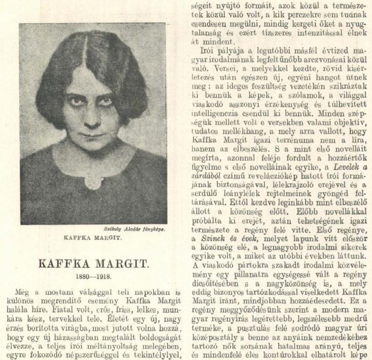 Kaffka Margit nekrológja a Vasárnapi Ujságban