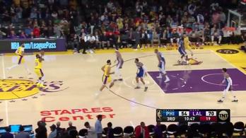 Vezetett a Lakers, de LeBron gondolt egyet, és szinte félpályáról eldobta