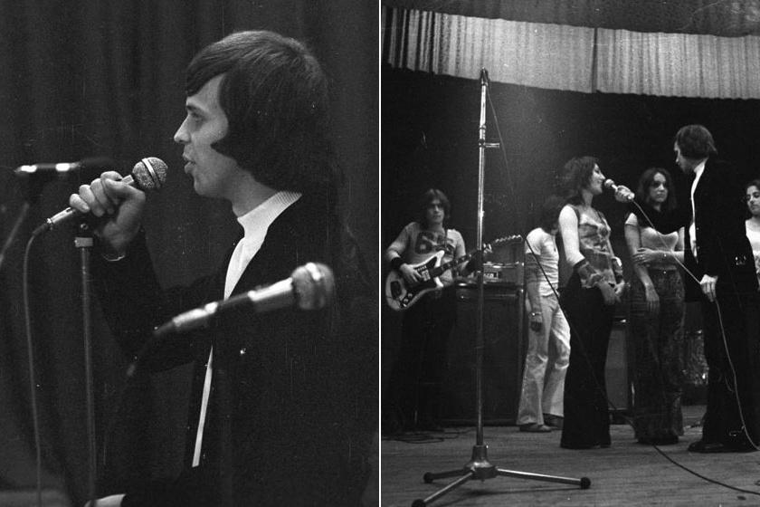 Dévényi Tibor 1973-ban, háttérben a Generál együttes tagjaival.