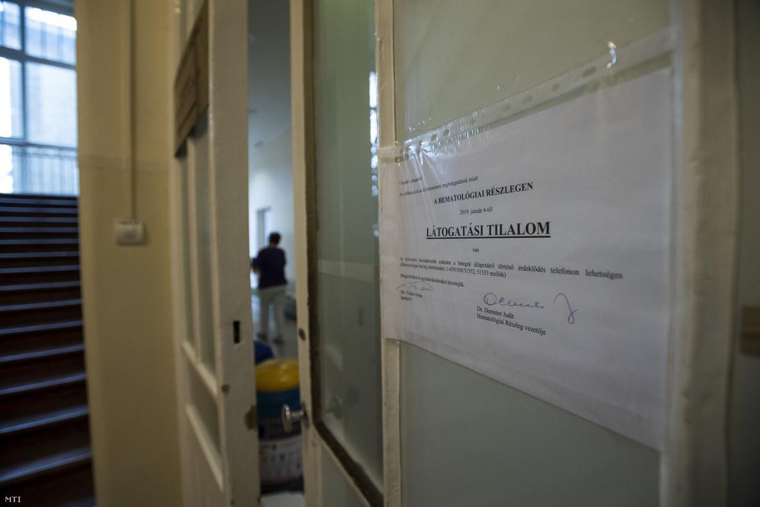 2019-es látogatási tilalom Semmelweis Egyetem I. Sz. Belgyógyászati Klinika Hematológiai Részlegén