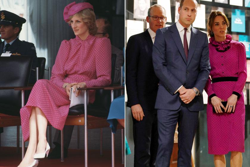 Diana 1983-ban Ausztráliában, Katalin a március eleji írországi turnéján viselte ezt a pöttyös, rózsaszín ruhát.