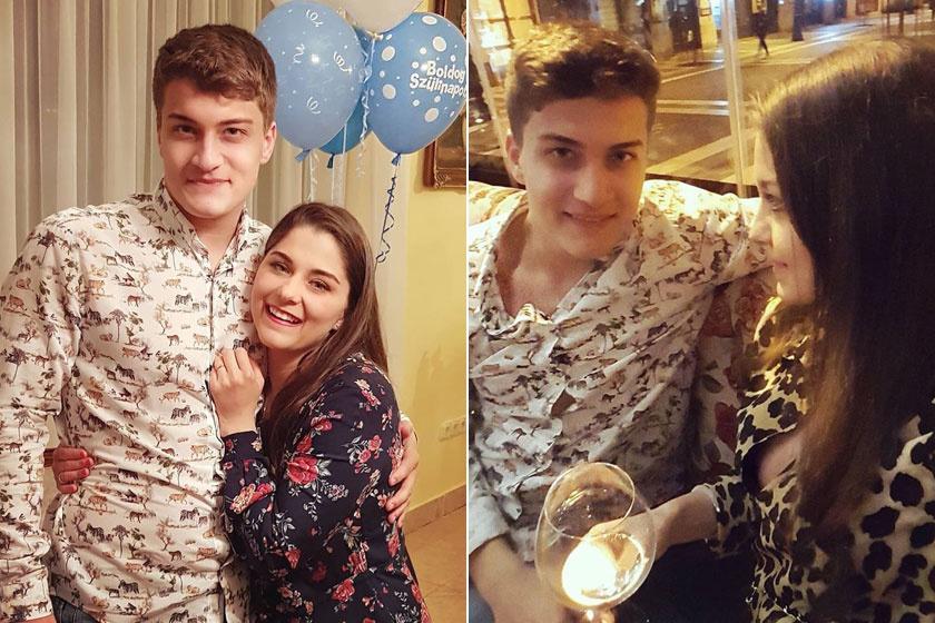 """""""Mi és a kisöcsénk, Karcsika, aki tegnap ünnepelte a 21. születésnapját!"""" - írta a közös fotóhoz Nyári Edit és Aliz."""