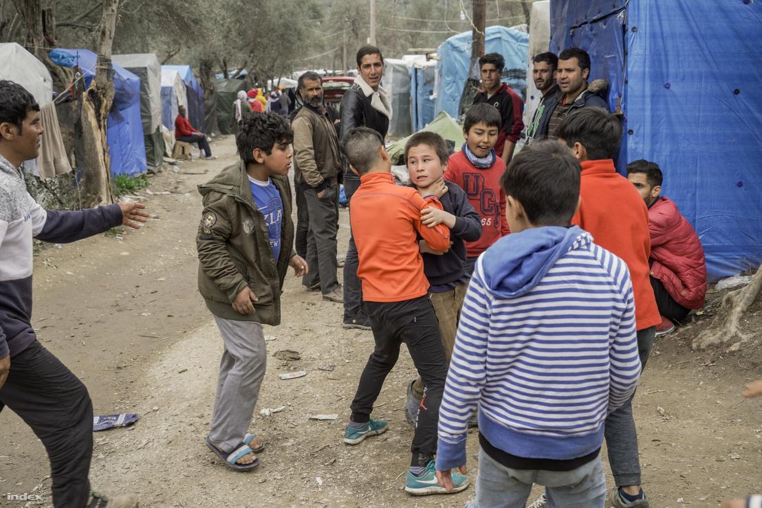 Gyerekek verekednek a menekülttáborban