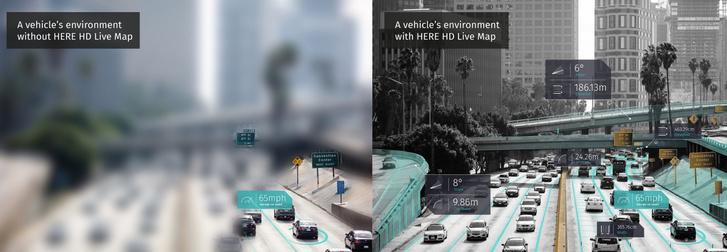 Mit tud egy autó a környezetéről Here HD Live nélkül (balra) és azzal (jobbra)