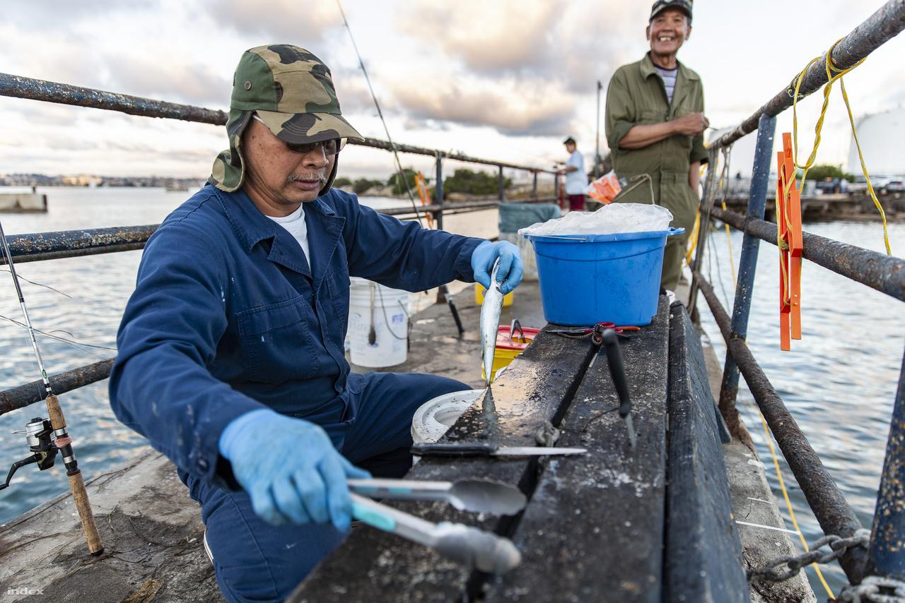 A haditengerészet légibázisa mellett horgászok fogják a napi betevőt és a helyi éttermeknek szánt tengeri halakat.