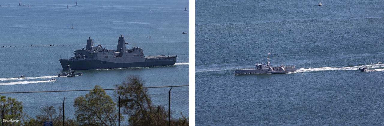 A Point Loma-félsziget csúcsánál lévő Cabrillo nemzeti emlékmű és kilátópont tökéletes hely a San Diego-öbölbe érkező vagy onnan távozó hajóforgalom megfigyelésére. A bal oldali képen a 2017 óta szolgálatban lévő USS Portland (LPD-27) San Antonio-osztályú partraszállító-hajó tart az öböl bejárata felé, szerepel azonban a képpáron egy jóval érdekesebb hajó: a haditengerészet tesztelés alatt lévő közepes méretű drónhajója, a Sea Hunter, ami egy egyelőre fegyverzet nélküli tengeralattjáró-vadász prototípus.