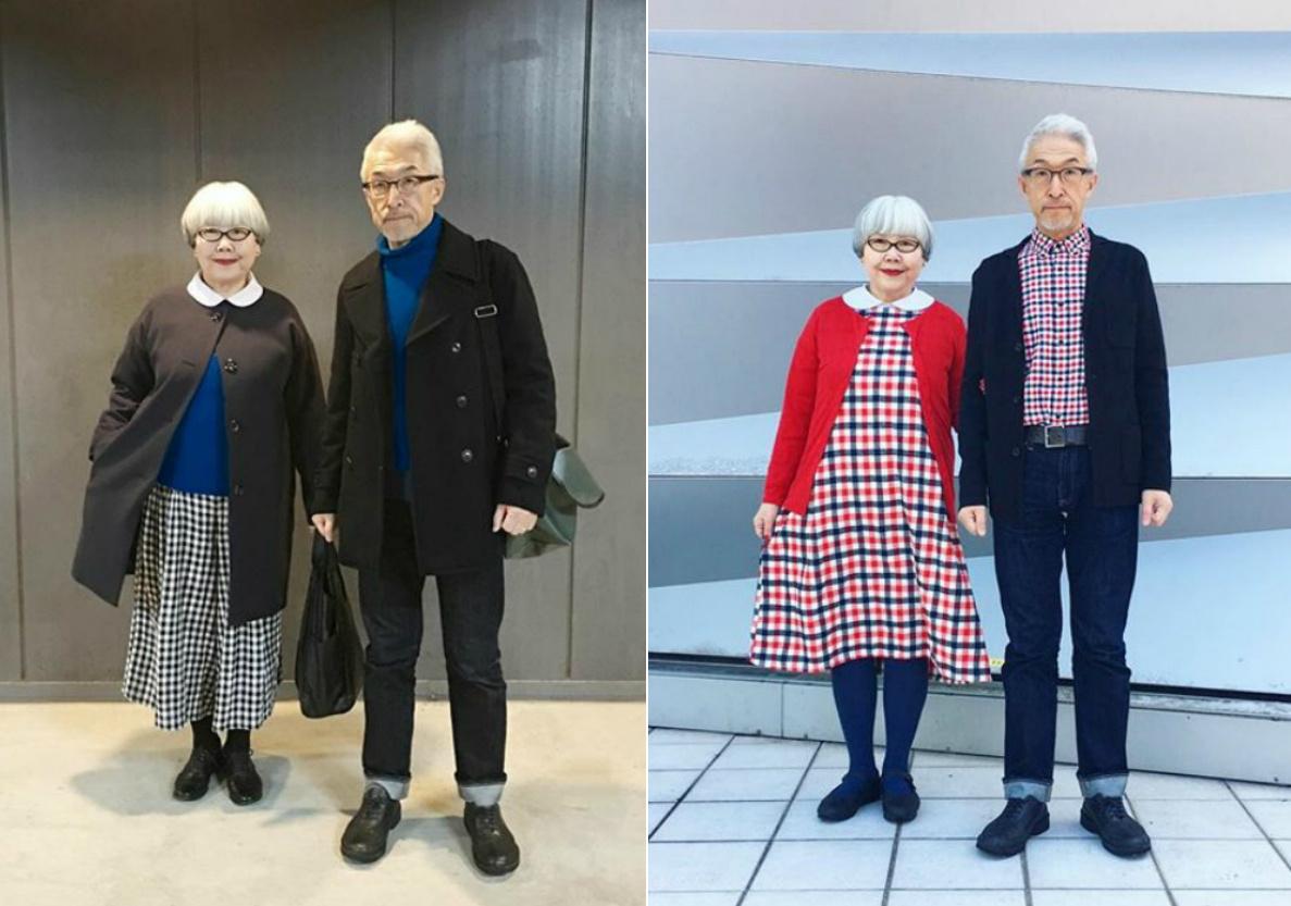 divatos idős pár