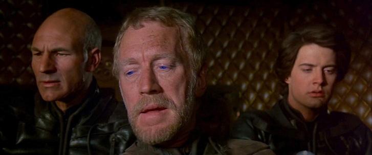 Patrick Stewart, Max von Sydow és Kyle MacLachlan a Dűne c. filmben (1984)