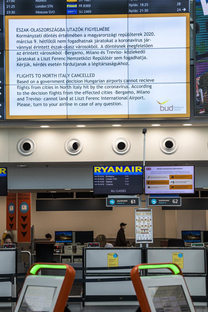 A koronavírus miatt a Wizz Air és a Ryanair is szünetelteti olaszországi járatait, a Wizz Air az izraeli járatokat is felfüggesztette.