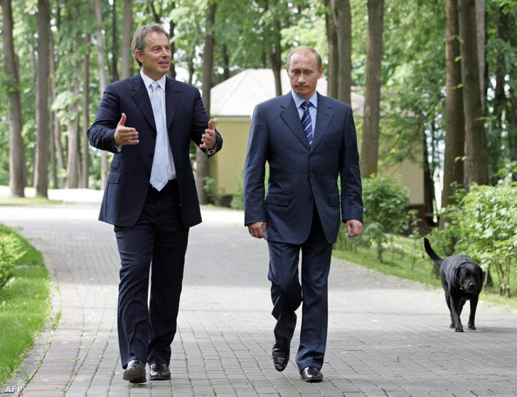 Tony Blair brit miniszterelnök és Vlagyimir Putyin találkozója 2005. június 13-án.