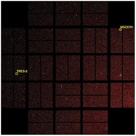 A Kepler űrtávcső látómezeje 100 négyzetfoknyi égterület a Cygnus és a Lyra csillagképek határán. A sárga körök a TrES-2 exobolygót és az NGC 6791 csillaghalmazt jelzik.