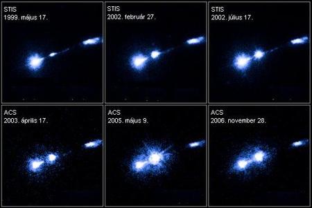 Az M87 magja (balra, lent) irányából induló jetben megjelent HST-1 jelű csomó fényességének változása az évek során (Forrás: NASA, ESA)
