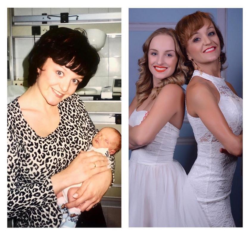 Szandi az elsőszülött kisbabájával és lányával, mint felnőtt nővel.
