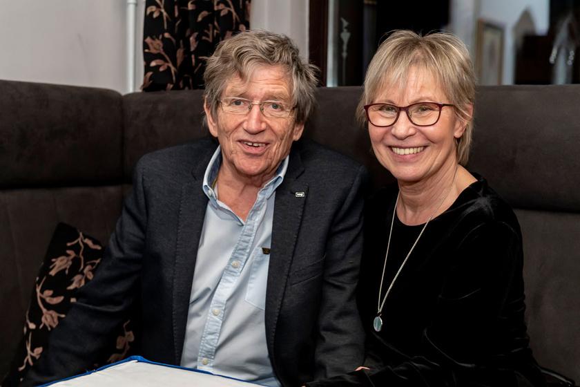 Kern András és felesége A vád tanúja című darab premierjén