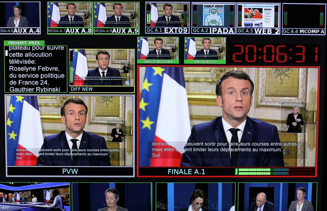 Emmanuel Macron koronavírussal kapcsolatos közleményét közvetíti a France 24 csatorna. 2020. március 12-én bejelentette, hogy bezárnak az iskolák jövőhéttől, és sürgette, hogy a 70 év feletti emberek maradjanak otthon. Viszont a március 15-i helyi választásokat megtartják.