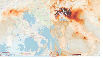 Olaszország leállt, ez az űrből is látható