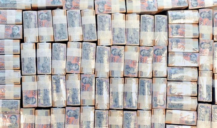 Becsomagolt húszezres bankjegyek a Magyar Nemzeti Bank (MNB) Logisztikai Központjában