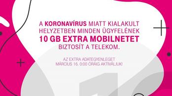 A Telekom 10 giga plusz mobilnetet ad mindenkinek a koronavírus miatt